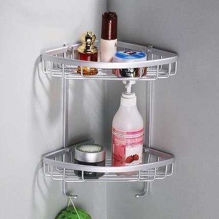Two Layer E Aluminum Towel Washing Shower Basket Bar Shelf Wall Mounted Shampoo Holder Bathroom Accessories