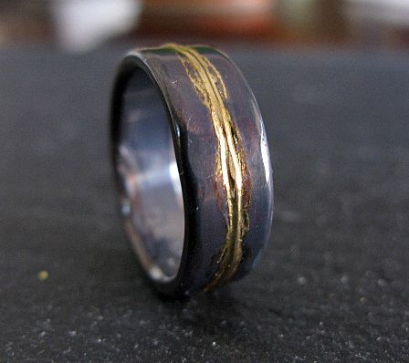 mens wedding ring 8mm rustic mens wedding band unique wedding band viking wedding ring bimetal ring unique mens wedding band black gold ring - Viking Wedding Rings
