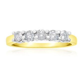 1/2ct Five Diamond Band in Yellow Gold
