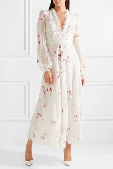 View Floral-print Silk-chiffon Maxi Skirt - Ivory Giambattista Valli Clearance For Cheap Affordable Cheap Online aOOa5RhKdx