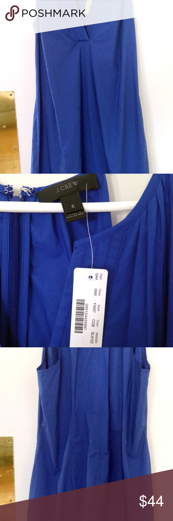 J. Crew flutter-hem Sundress Casual, crisp, cotton poplin sundress.  Great with flip flops or over your swim suit.  You can dress it up too!  Never worn, tags still attached.  Above the knee. J. Crew Dresses Midi