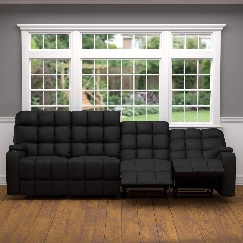 Pleasant Black Microfiber Wall Hugger Storage 4 Seat Reclining Sofa Pdpeps Interior Chair Design Pdpepsorg