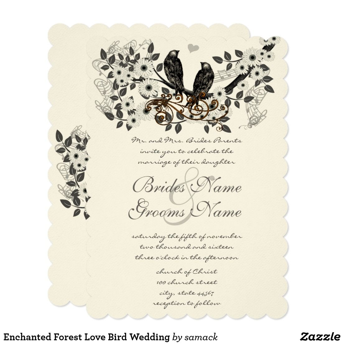 Enchanted Forest Love Bird Wedding Card Vintage Birds on Branch ...