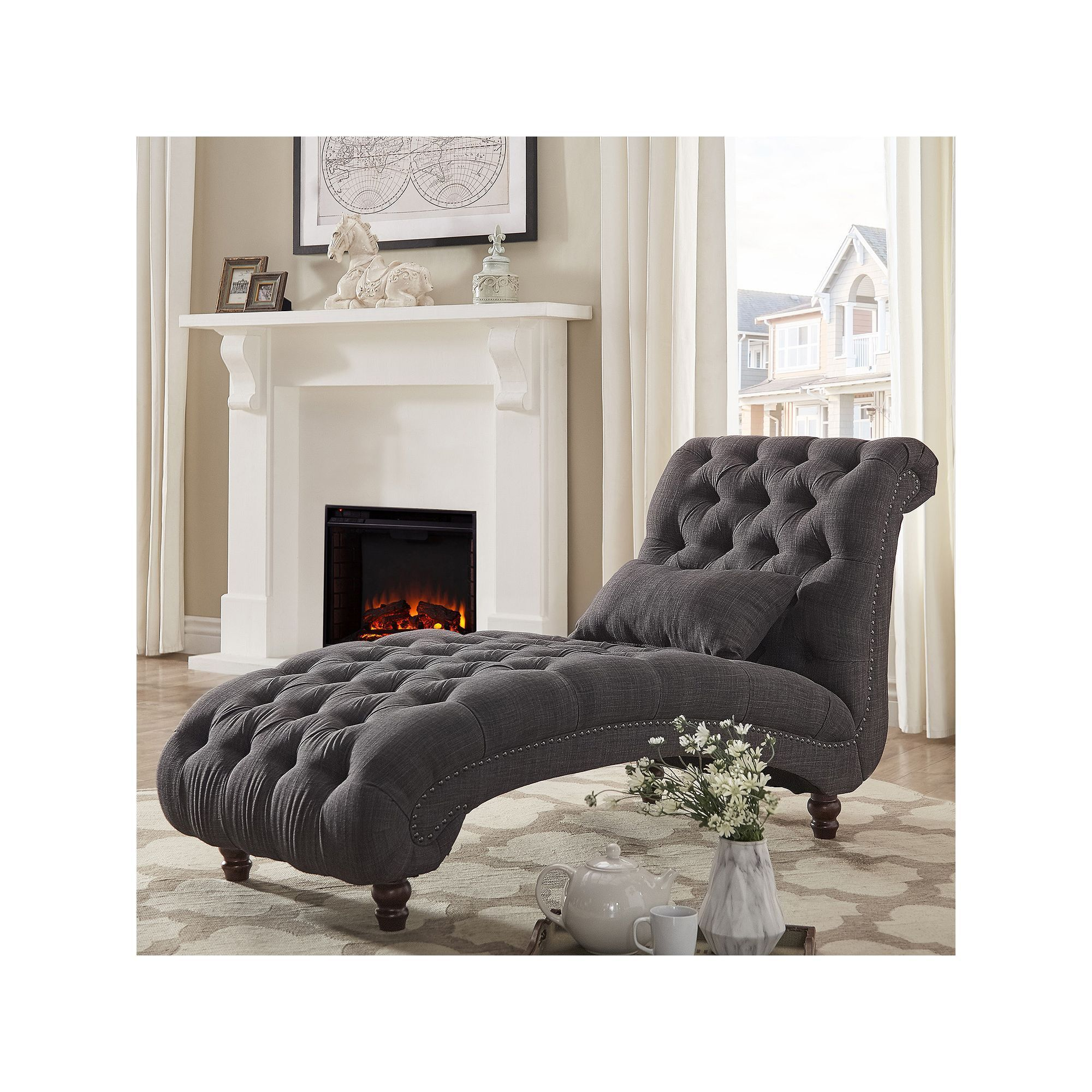 Homevance Tufted Chaise Lounge Chair Pillow 2 Piece Set Dark Grey Tufted Chaise Lounge Linen Lounge Chair Chaise Lounge