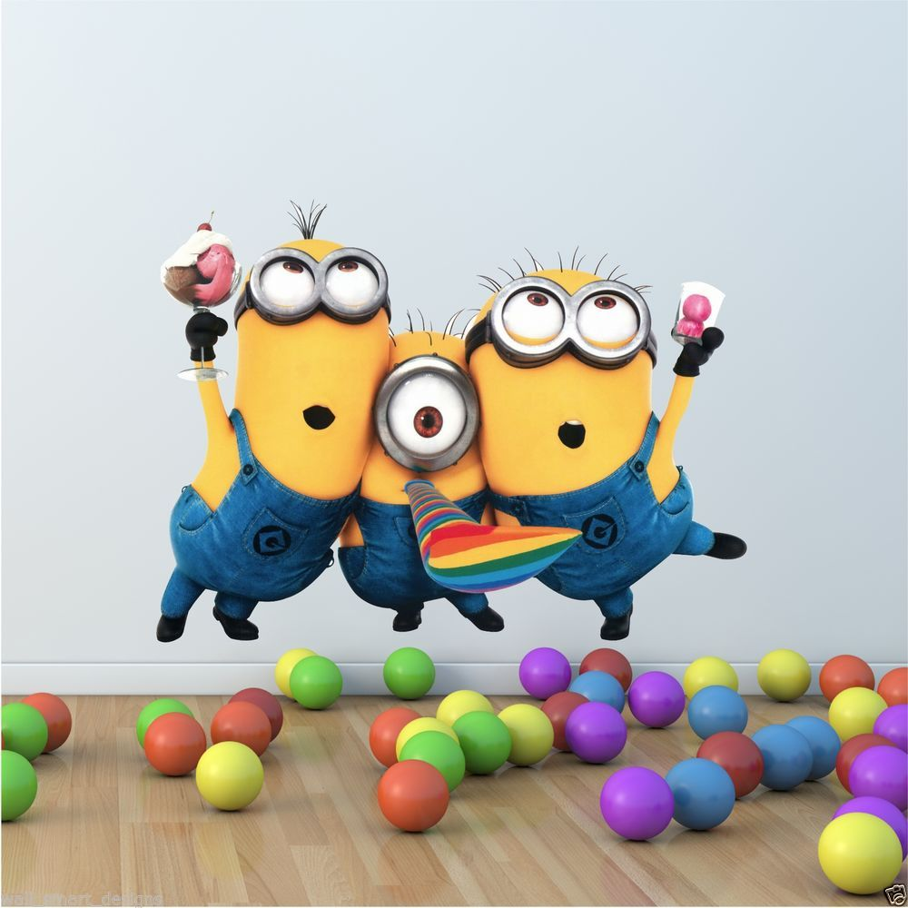 3 Minions Despicable Me 2 Wall stickers Wall Decal Removable Art Home Kids Mural