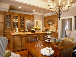 kitchens - maple cabinets island crown molding Maple ... on What Color Countertops Go With Maple Cabinets  id=42531