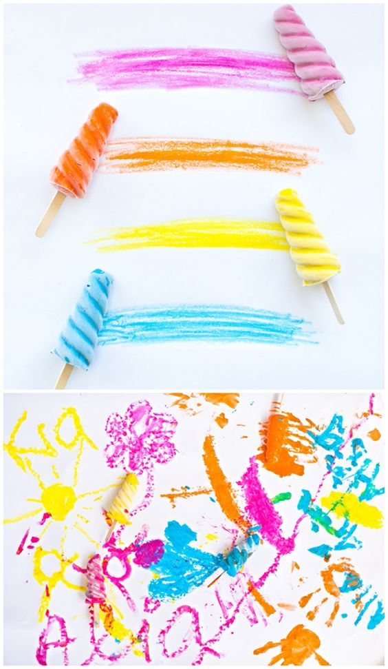 Make Freezer Paint Popsicles. A fun way to paint outdoors and easy colorful summer art project and craft for kids!