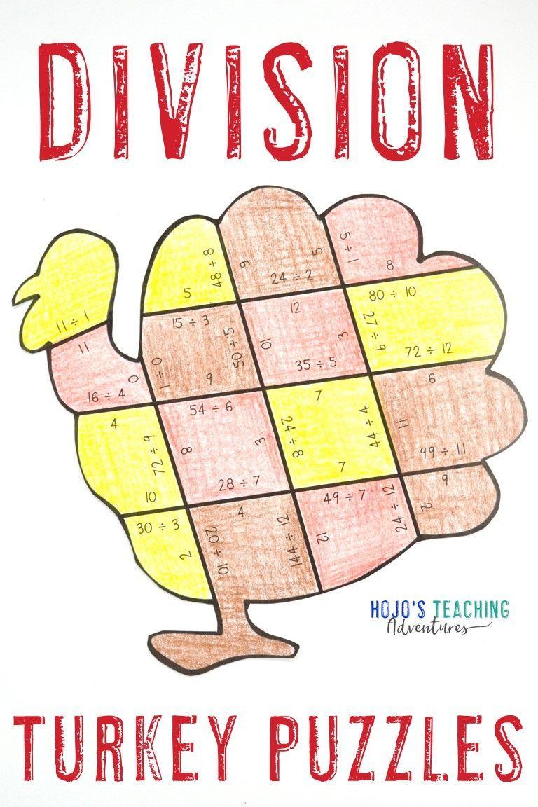DIVISION Turkey Puzzles   FUN Thanksgiving Math Worksheet Alternatives    Learn basic math [ 1152 x 768 Pixel ]