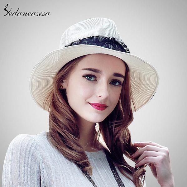 693c4f46cf5 Fashion Women Ladies Lace Straw Hat Summer Panama Hats for Elegant ...
