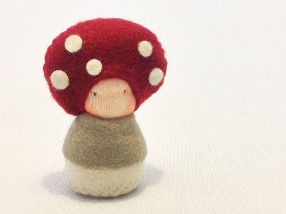 Baby Waldorf Doll / Mushroom Plush / Mosiki by shroompers on Etsy