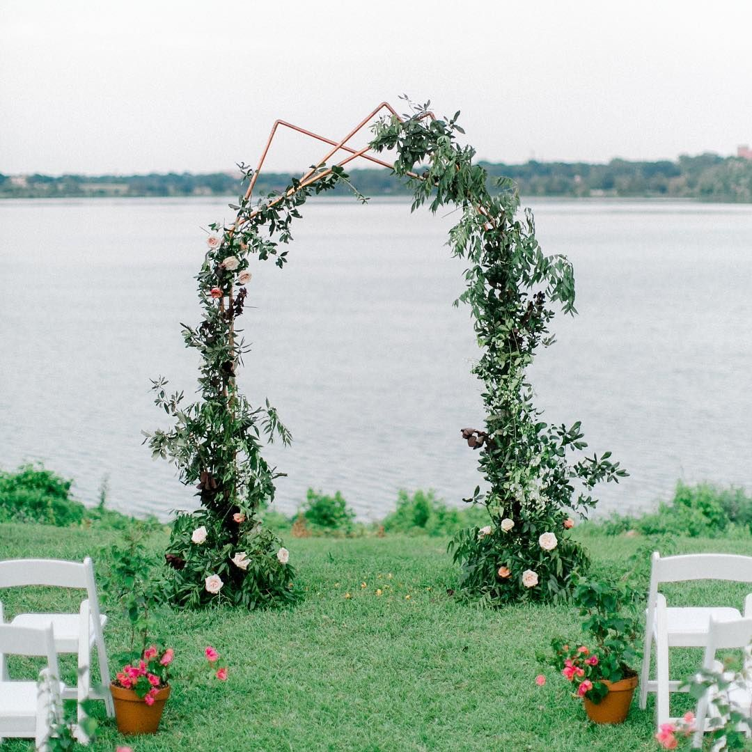 Wedding Ceremony At White Rock Lake In Dallas Waterfront Wedding Ceremony Waterfront Wedding Wedding Ceremony Floral Arch
