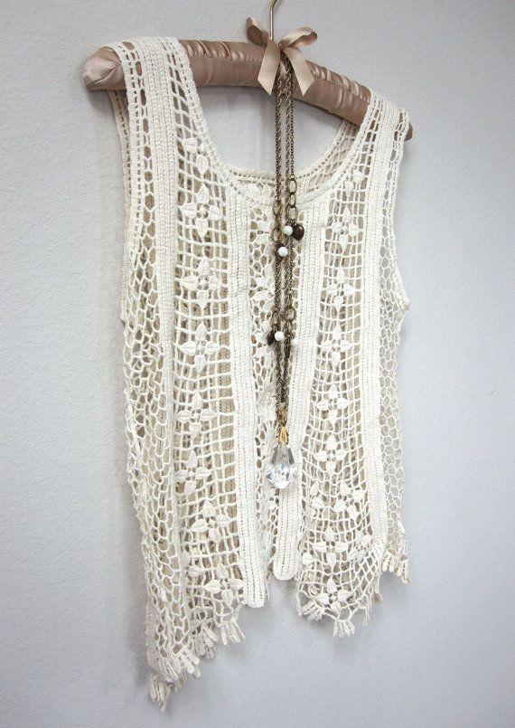 Boho Hippie Festival Ivory Lace Crochet, See Through Tank Top ...