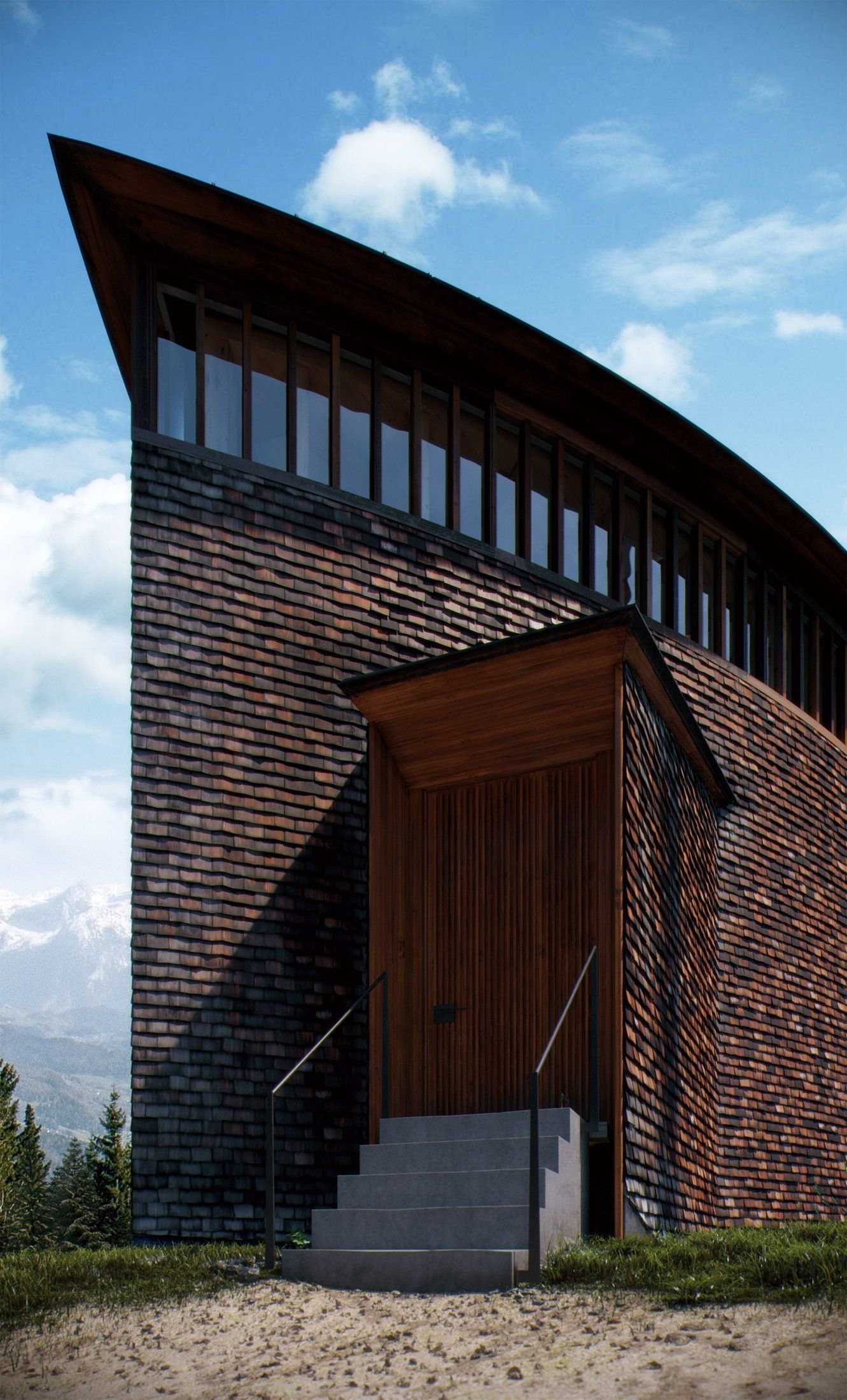 Curved Wall With Shake Siding Caplutta Da Sogn Benedetg
