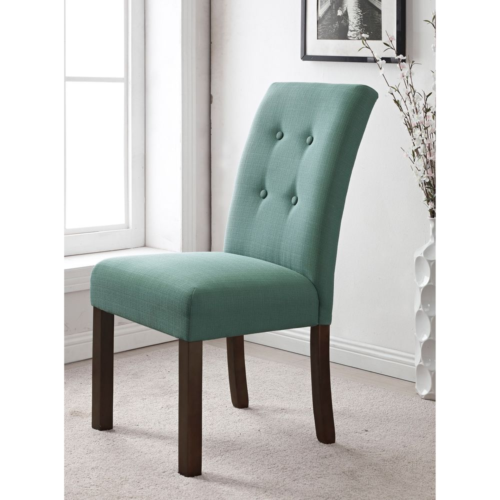 4-button Tufted Aqua Textured Parson Chair (Set of 2) | Overstock ...