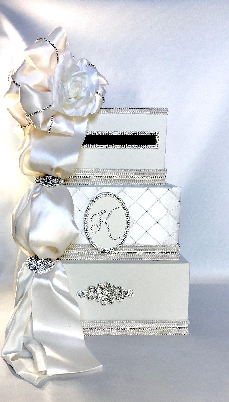 monogram personalized wedding card box with lock flower