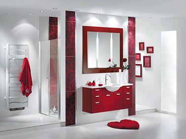 La salle de bain rouge donne des idées couleur au gris et noir