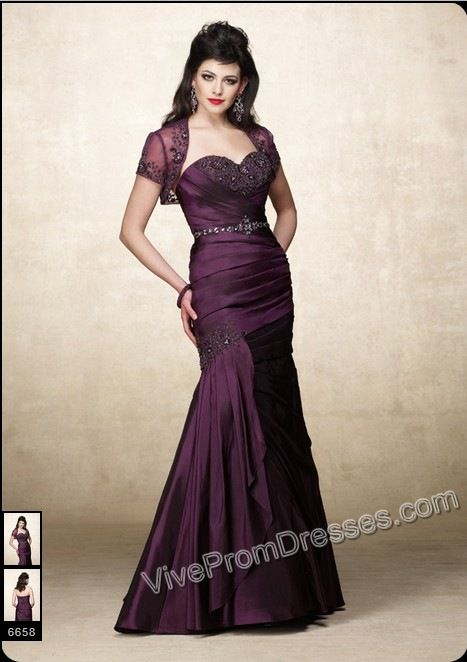 Elegant Purple Mermaid Sweetheart JS Prom Gowns with Beads and Ruche ...