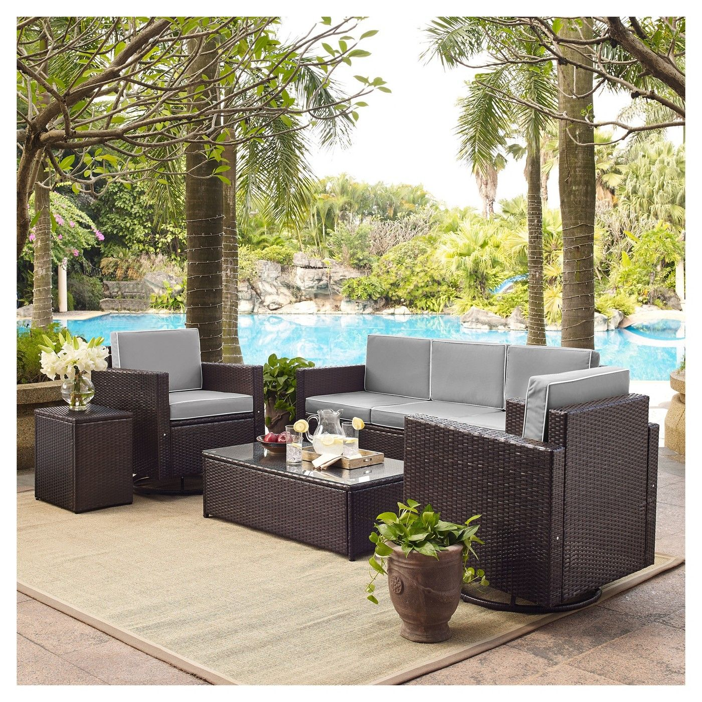 Palm Harbor 5pc All Weather Wicker Patio Sofa Conversation Set W Swivel Chairs Crosley Wicker Sofa Outdoor Conversation Set Patio Outdoor Wicker Furniture