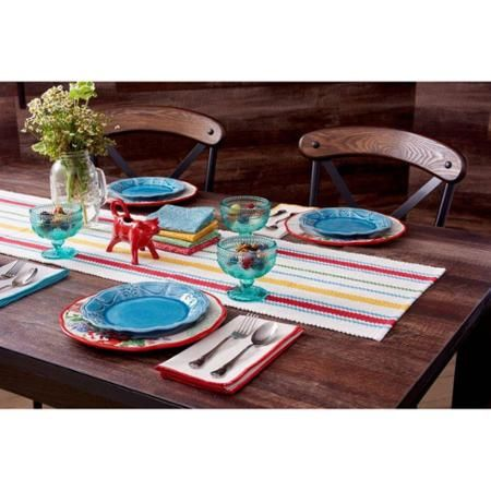 The Pioneer Woman Vintage Stripe Runner Walmart Com Pioneer Woman Placemats Striped Table Runner Pioneer Woman Dishes