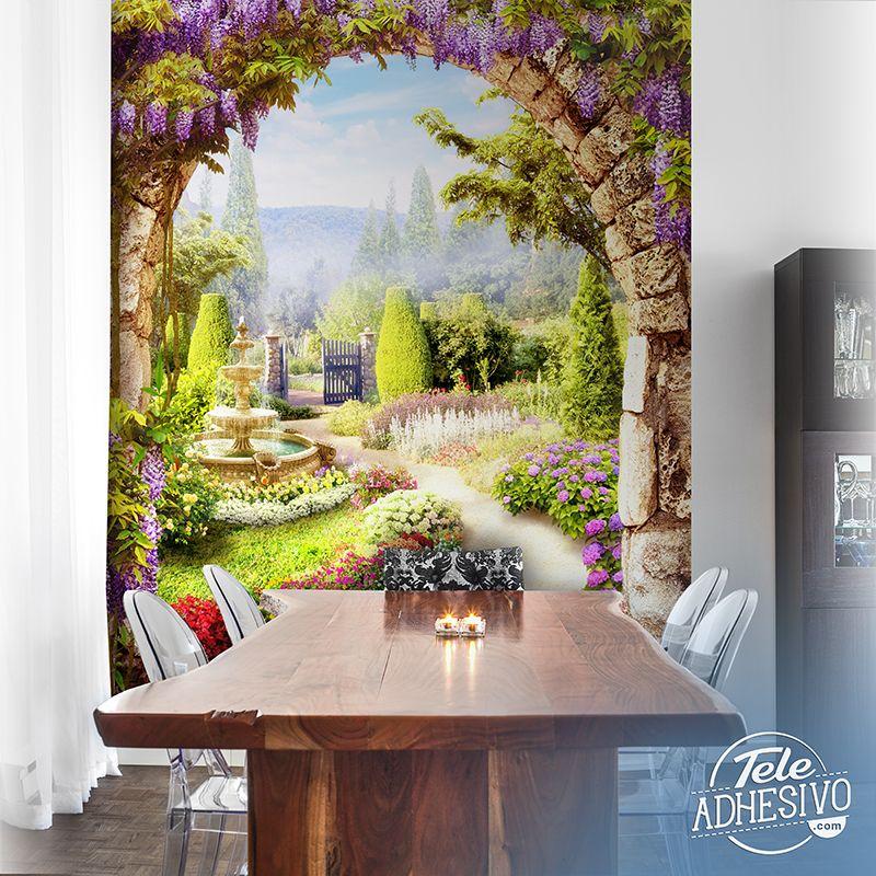 Fotomurales jard n de flores fotomural mural pared for Fotomurales pared paisajes