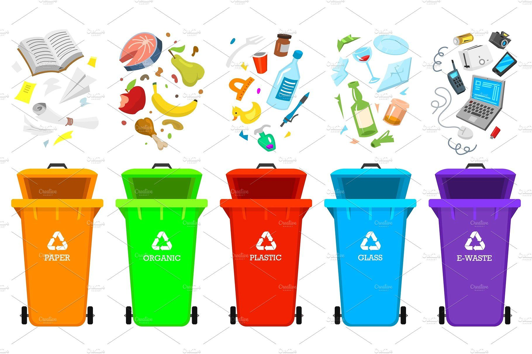 Recycling Garbage Elements Bag Or Containers Or Cans For