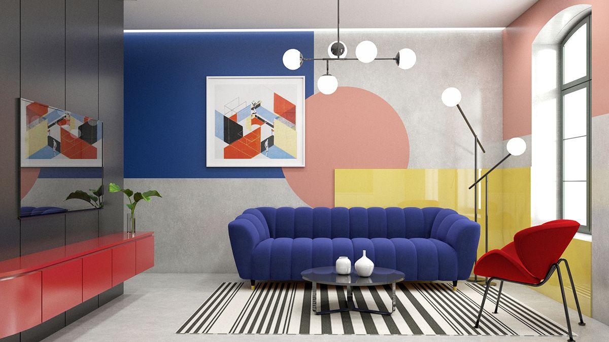 Interior Design On Behance Interior Design Colour Pop Interior Blue Interior Design Color pop living room