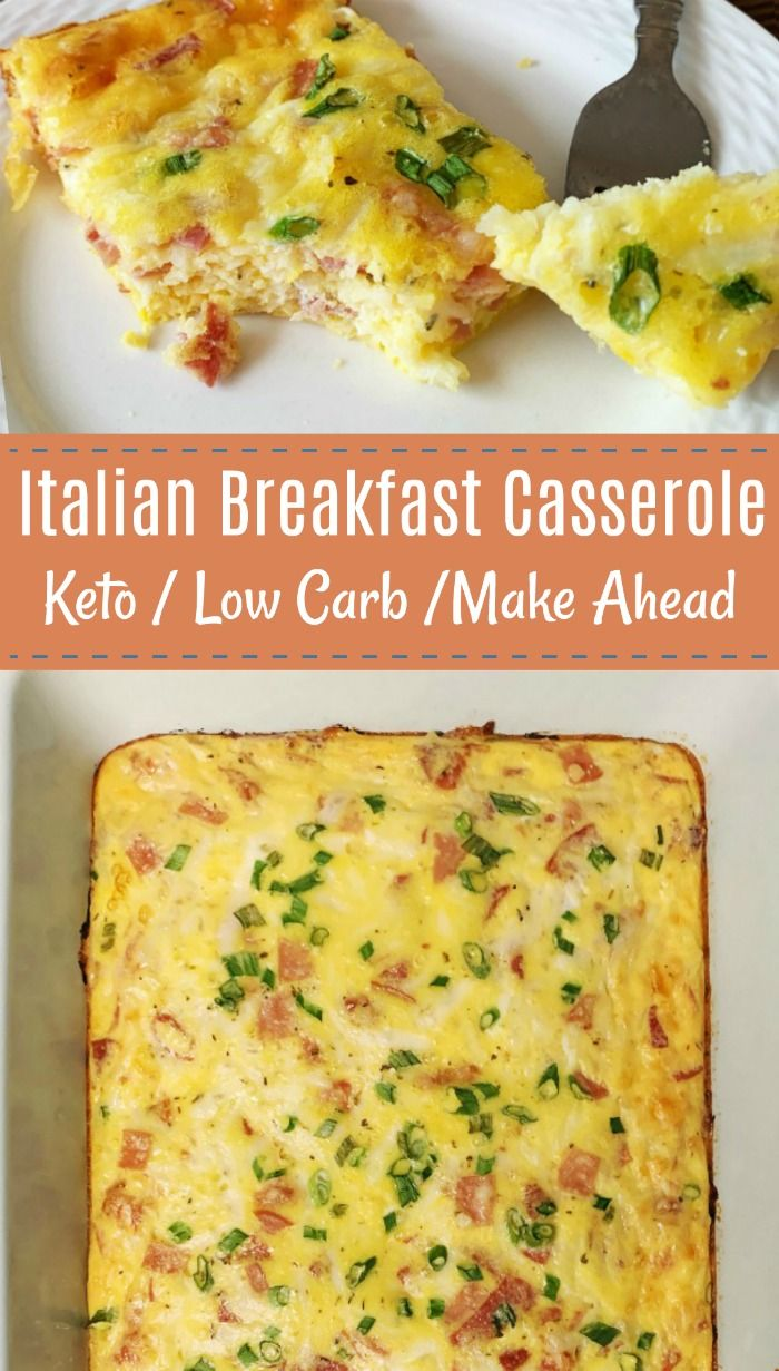Italian Breakfast Casserole is Keto / Low CarbThis baked italian egg casserole features italian meats, cheese, onions and eggs. You can make it ahead so it's great for meal prep or brunches.