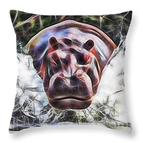 Hippopotamus Throw Pillows - Hippo Throw Pillow by Marvin Blaine