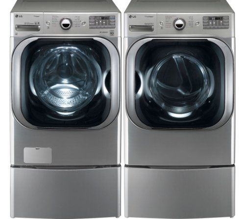 Lg Graphite Cu Ft Front Load Steam Washer And Electric Dryer Set With Pedestals Home Kitchen Accessories