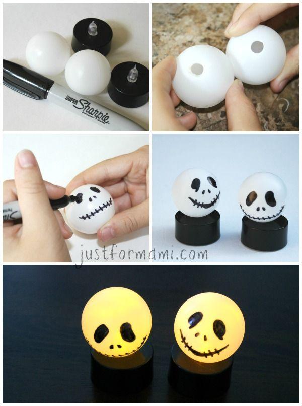 Velas de jack skellington hechas con velas y pelotas de for Decoracion para halloween