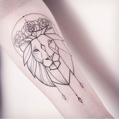 Geometric Lion Outline Tattoo – Black and grey lion tattoo for leo girls.