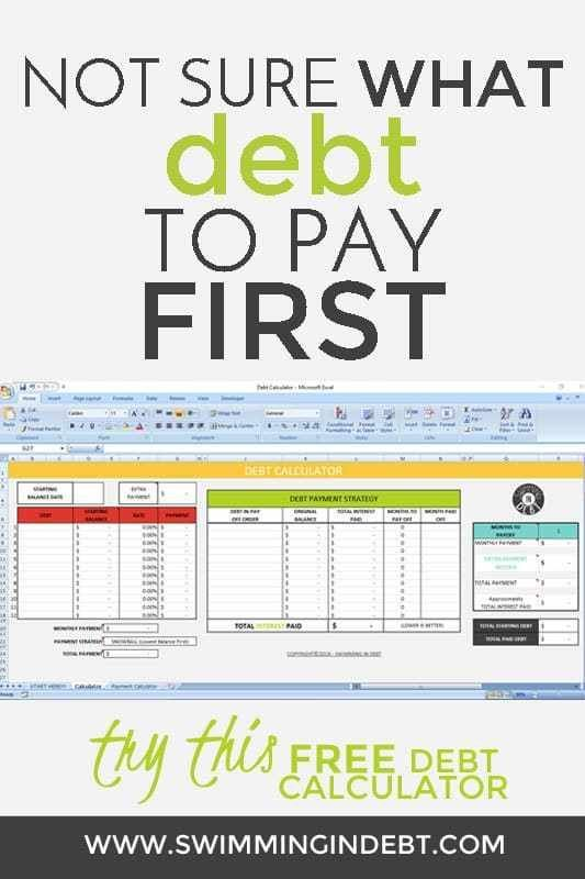 Paying Off The Debt Part 5 Swimming In Debt Debt Calculator Debt Payoff Debt Relief Programs