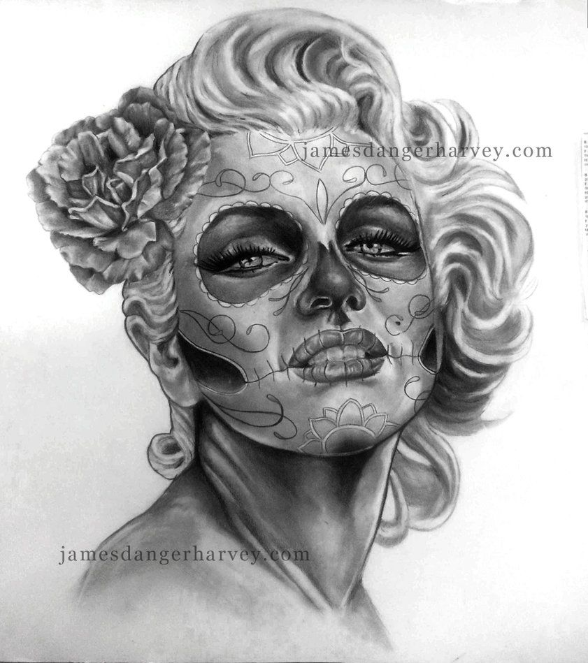 Day of marilyn by jamesdangerharvey on deviantart frida for Marilyn monroe skull tattoos