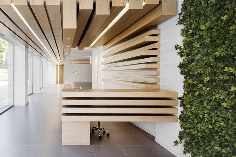 Office design based on creative wooden shapes #office #wood ...