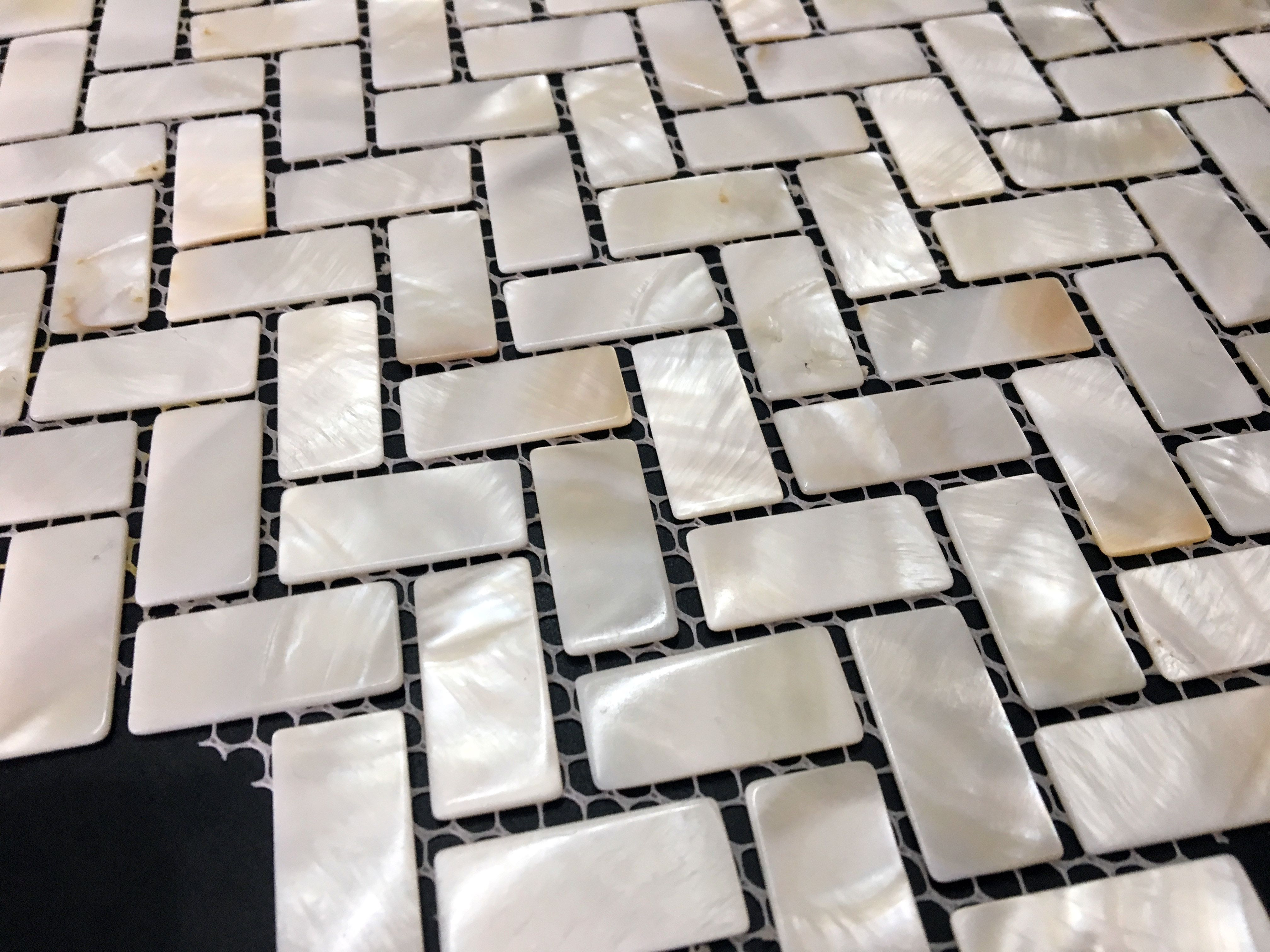 Visual eye candy how to tile a herringbone floor part i - White Herringbone Mother Of Pearl Tile With Joint