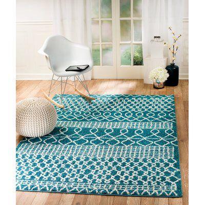 Bolt Geometric Teal Turquoise Area Rug Area Rugs Rugs Home Decor