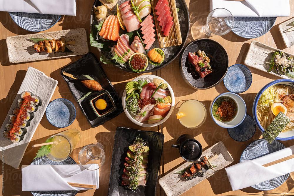 Japanese Sushi Sashimi Izakaya | Stocksy United  Sushi, ramen, and nigiri.  #sushi #ramen #nigiri #japanese #japanesefood #japaneserecipe #portlandoregon #pdxfood #food #delicious #stocksy #stockphoto
