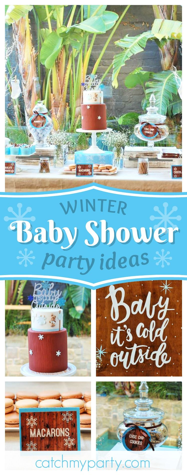 Don't miss this beautiful winter themed Baby Shower! The dessert table is stunni...