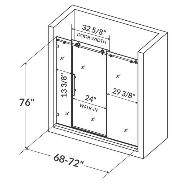 Ultra C 72 X 76 Single Sliding Frameless Shower Door