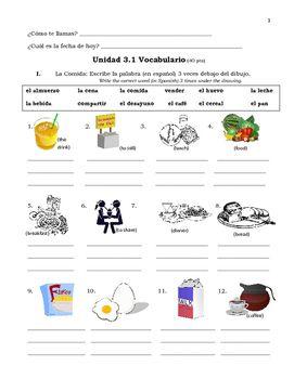 Spanish food vocab practice worksheets avancemos 1 unit 31 spanish food vocab practice worksheets avancemos 1 unit 31 malvernweather Images