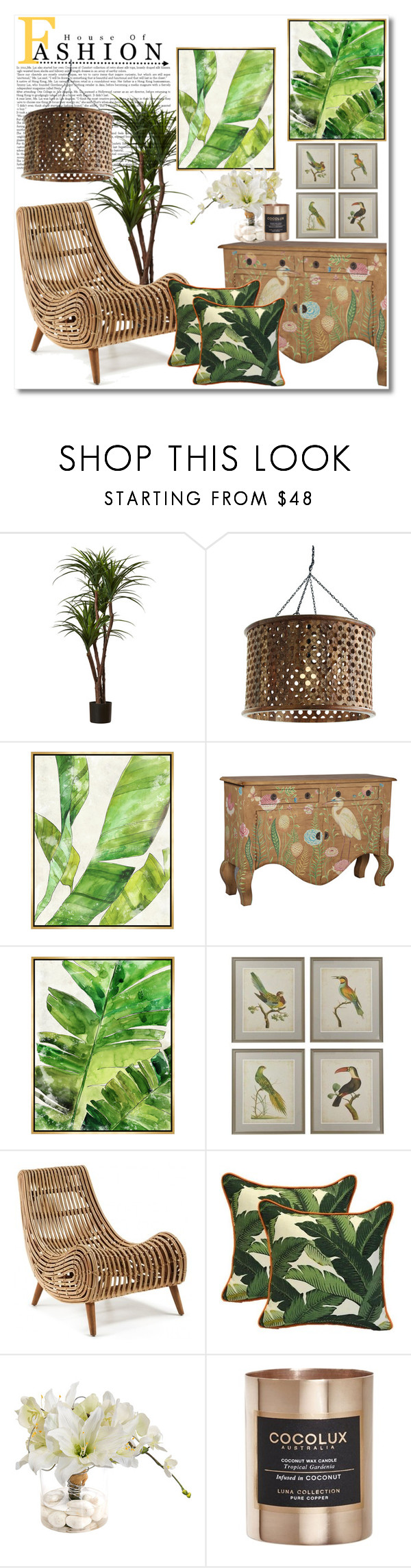 """Tropical Home"" by vkmd ❤ liked on Polyvore featuring interior, interiors, interior design, home, home decor, interior decorating, Arteriors, Barclay Butera, John-Richard and Cocolux"