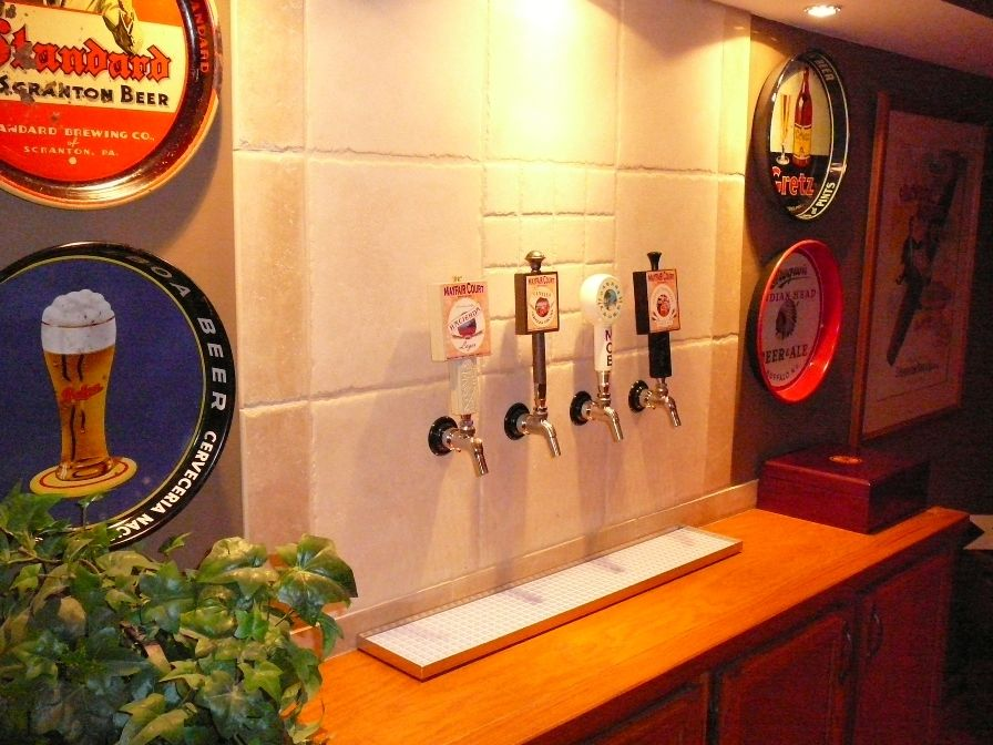 Basement Idea Taps With A Kegerator Behind The Wall Home