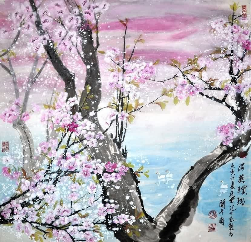 Chinese Cherry Blossom Paintings China Cherry Blossom Art Scrolls Sanat