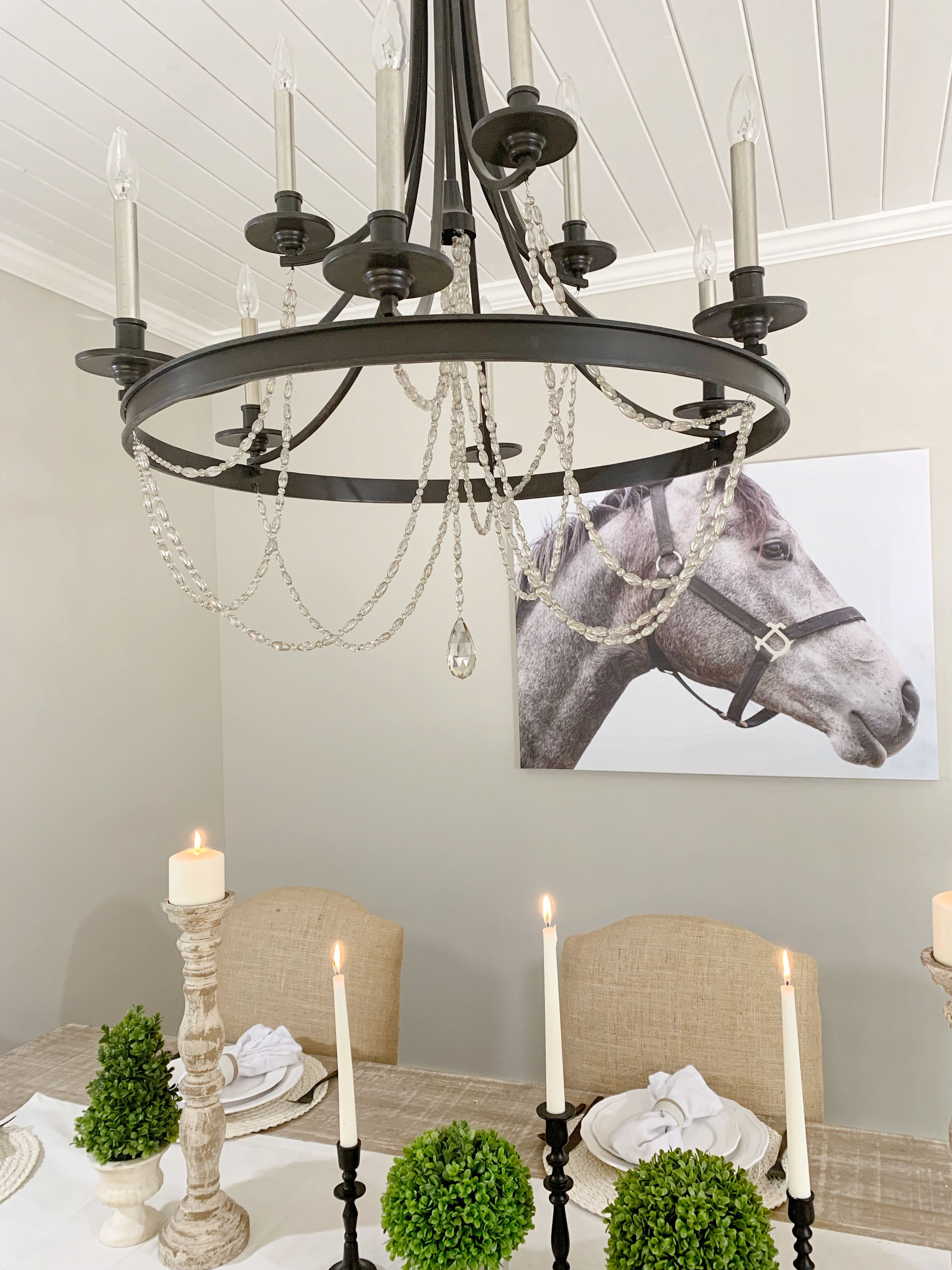 Casual Luxe Chandelier In Farmhouse Dining Room Design With Candelabras Painting Dining Room Lighting Dining Room Chandelier Dining Room Design