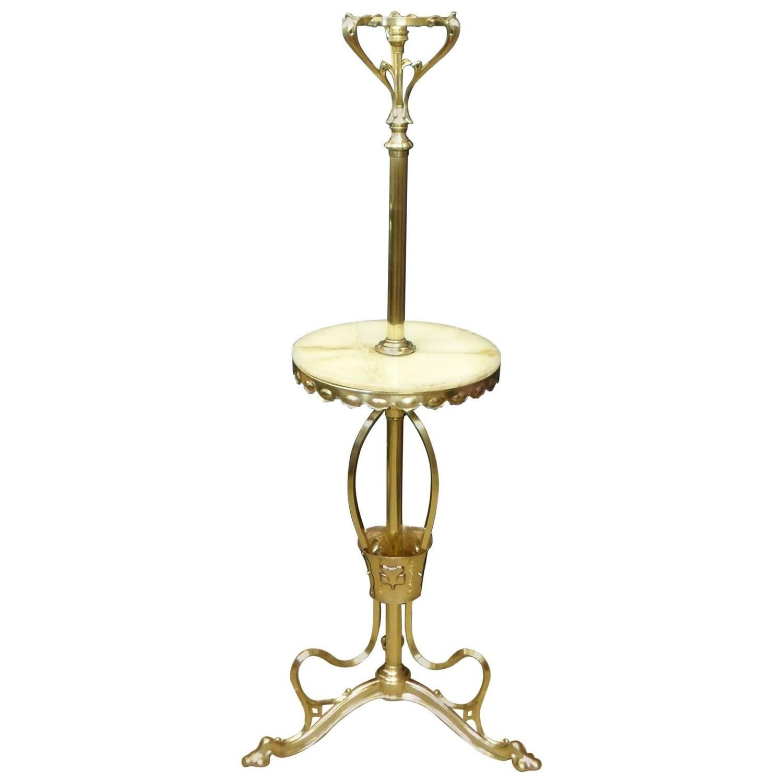 Art Nouveau Polished Brass Table Floor Lamp Vintage