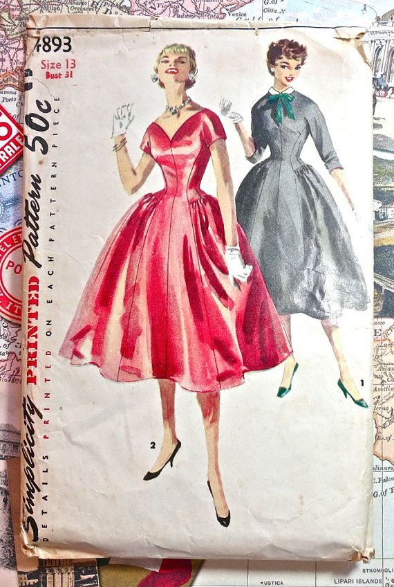 Simplicity 4893 - Vintage 1950s Womens Dress Pattern with Full Skirt ...