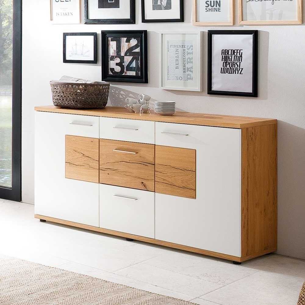 Esszimmer sideboard in wei mit eiche furniert 165 cm for Garderobe 0286