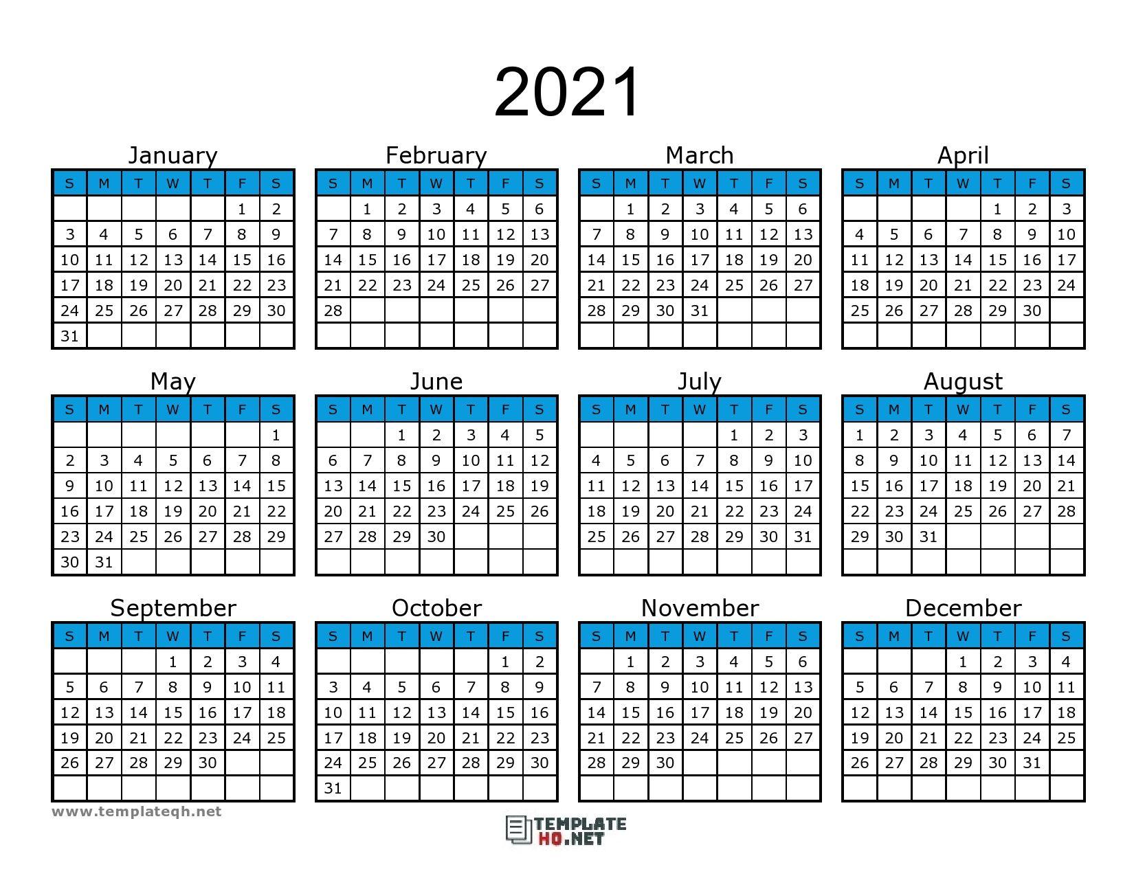 Free 2021 Calendar Printable di 2020
