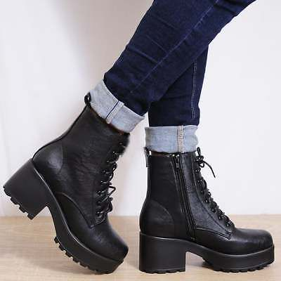 High Heel Black Ladies Block Lace Military Biker Chunky Ankle Up pFqxXZF