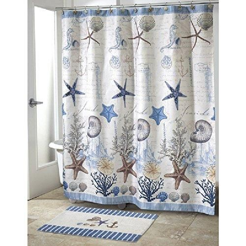 1 Piece Blue Sea Life Beach Themed Shower Curtain 70 W X 72 L Ocean Detailed Starfish C Shell Printed Multi Color Seahorse